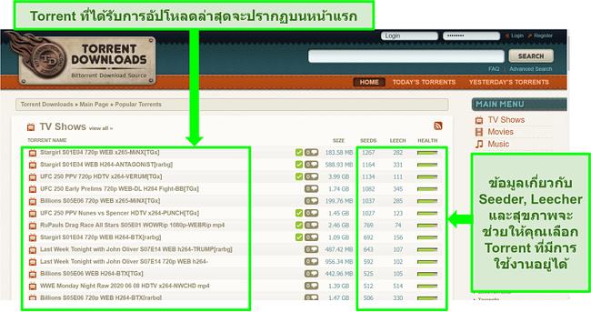 ภาพหน้าจอของหน้า Landing Page ของ TorrentDownloads