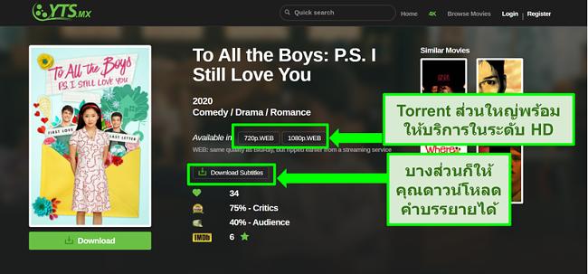 ภาพหน้าจอของหน้า Landing Page ของ YTS