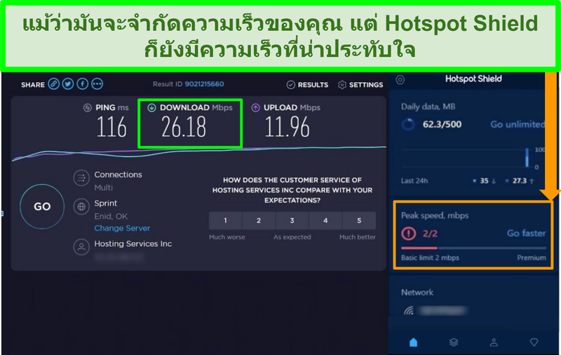 ภาพหน้าจอของผลการทดสอบความเร็วขณะเชื่อมต่อกับอินเทอร์เฟซ Hotspot Shield