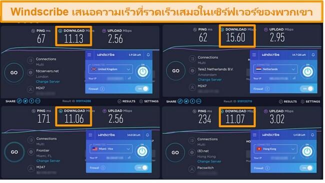 ภาพหน้าจอของผลการทดสอบความเร็วของ Windscribe VPN และเซิร์ฟเวอร์ในสหราชอาณาจักรเนเธอร์แลนด์สหรัฐอเมริกาและฮ่องกง