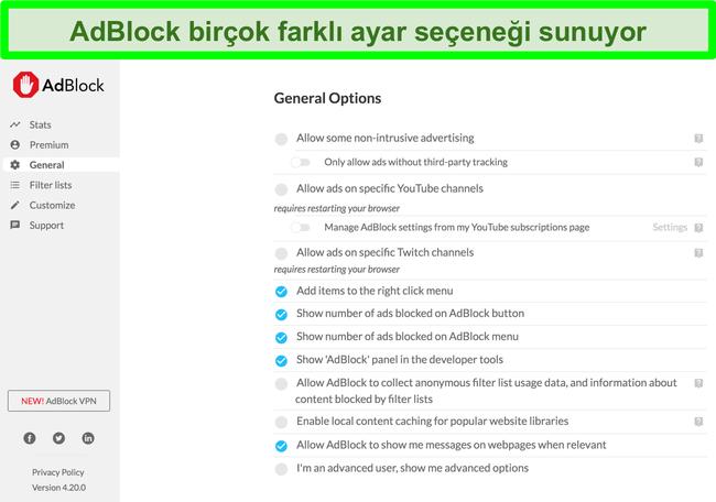 AdBlock'un birçok özelleştirme seçeneğini gösteren ekran görüntüsü