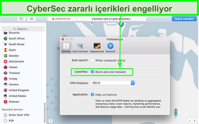NordVPN'in CyberSec reklam ve kötü amaçlı yazılım engelleyici özelliğini gösteren ekran görüntüsü