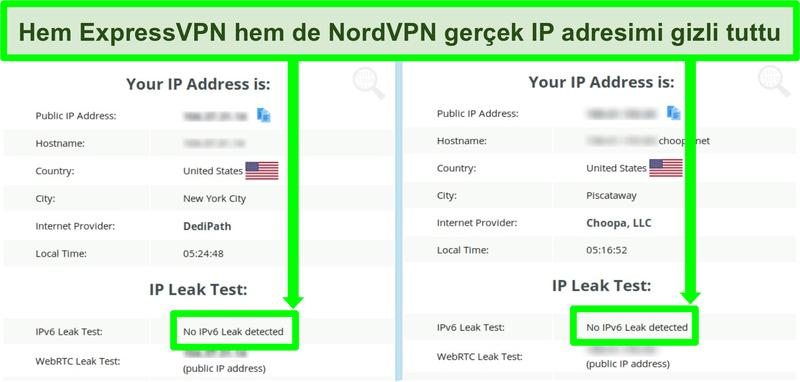 Hem NordVPN hem de ExpressVPN için IPv6 sızıntısı tespit edilmediğini gösteren ekran görüntüsü