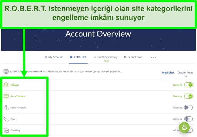 Winscribe ayarları sayfasının ekran görüntüsü, reklamları, kötü amaçlı yazılımları ve web sitesi kategorilerini engelleme seçeneklerini gösterir