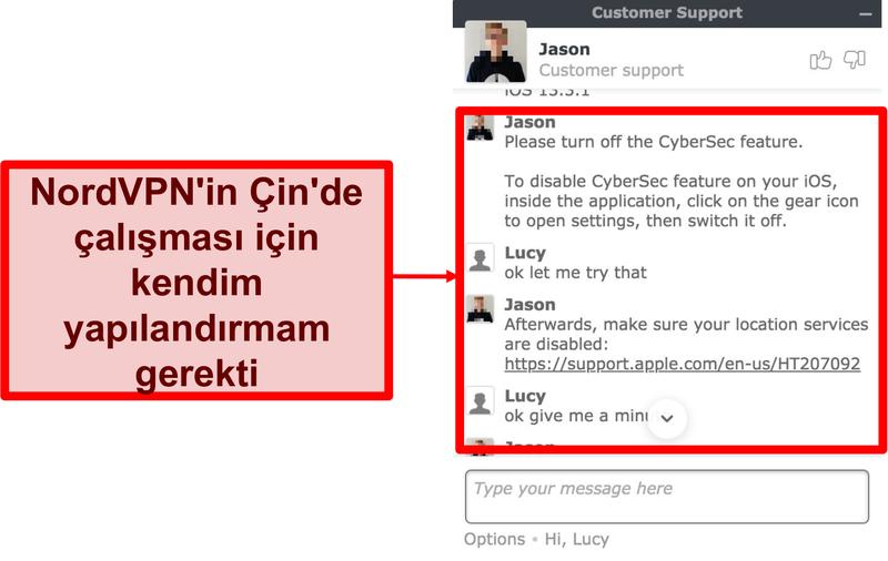 Uygulamanın Çin'de nasıl çalıştırılacağı konusunda tavsiye isteyen NordVPN ile sohbetin ekran görüntüsü