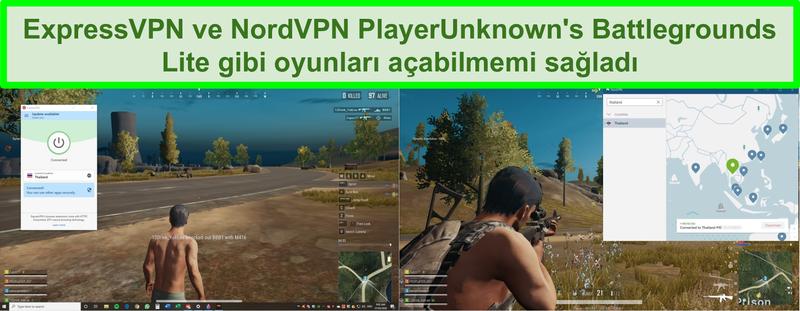 PC'de PlayerUnknown's Battlegrounds Lite'ın engelini kaldıran NordVPN ve ExpressVPN'in ekran görüntüsü