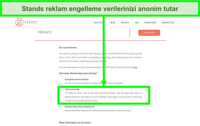 Stands web sitesinin, engellenen reklamlarla ilgili sahip olduğu verilerin hiçbir zaman kullanıcıların kişisel bilgileriyle bağlantılı olmadığını belirten ekran görüntüsü