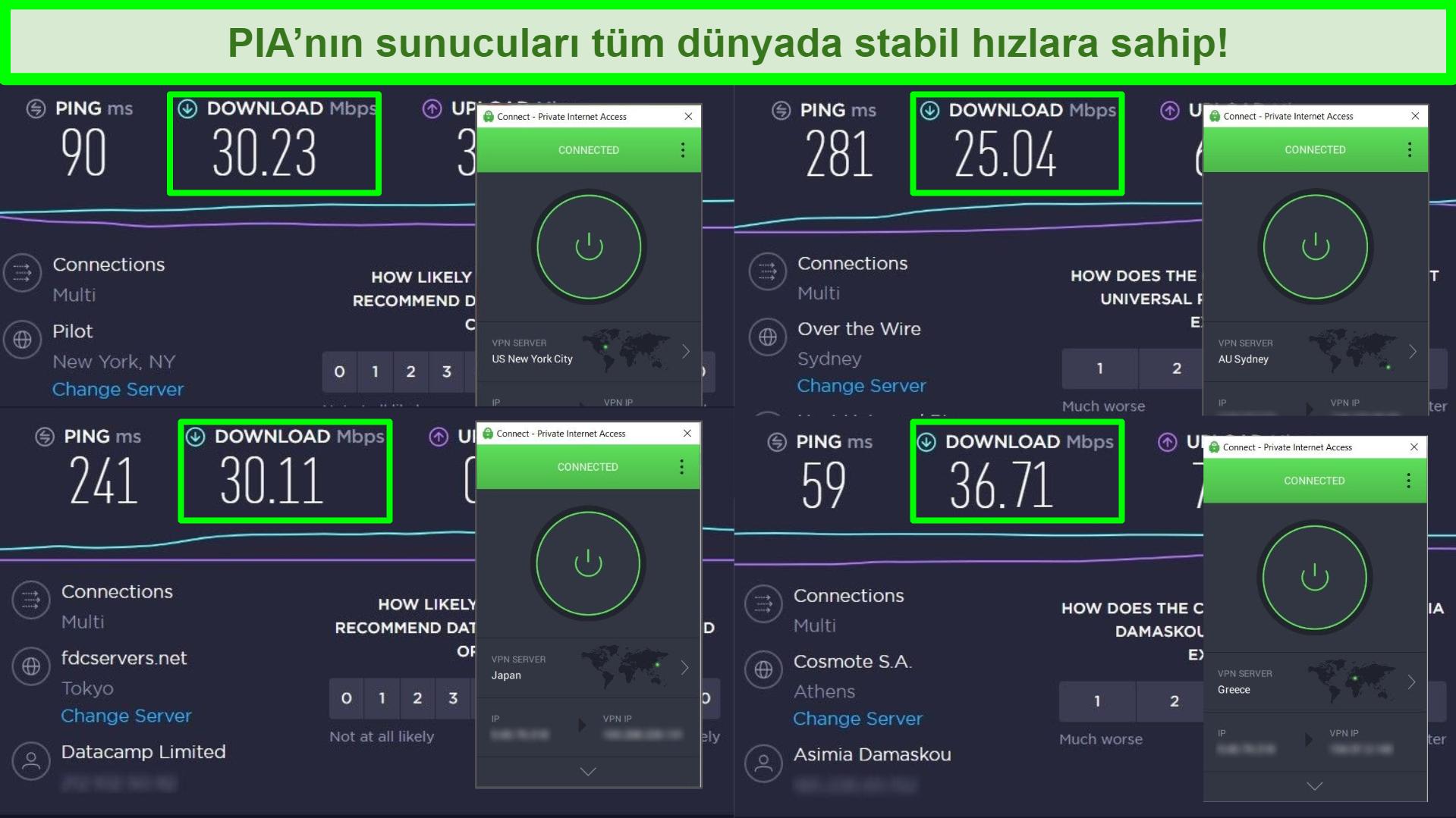 Farklı global sunuculara bağlı PIA ile Ookla hız testlerinin ekran görüntüleri.