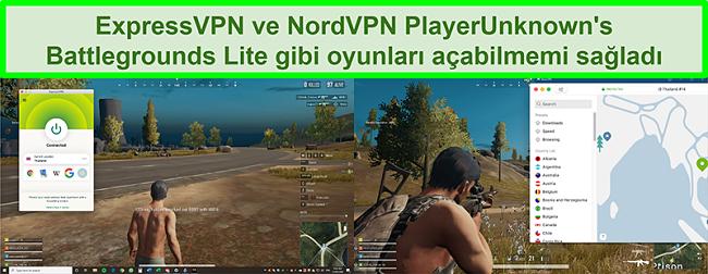Sırasıyla ExpressVPN ve NordVPN'e bağlıyken PlayUnknown's Battlegrounds Lite oynayan bir kullanıcının karşılaştırmalı ekran görüntüleri