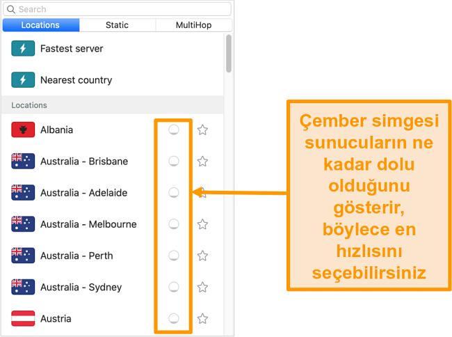 Surfshark'ın sunucu yükünü gösteren sunucu listesinin ekran görüntüsü