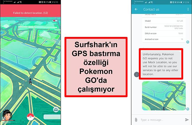 Surfshark müşteri hizmetlerinin, Pokémon Go'nun GPS sahtekarlığı ile çalışmadığını doğrulayan ekran görüntüleri, Pokémon Go ekran görüntüsü, mevcut konumu tespit edemediğini gösteriyor