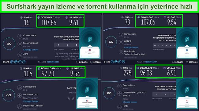 Surfshark'ın farklı global sunuculara bağlı olduğu Ookla hız testi sonuçlarının ekran görüntüleri