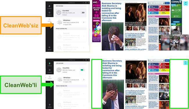 Tüm reklamları engelleyen Surfshark'ın CleanWeb özelliğine sahip Daily Mail web sitesinin ekran görüntüleri