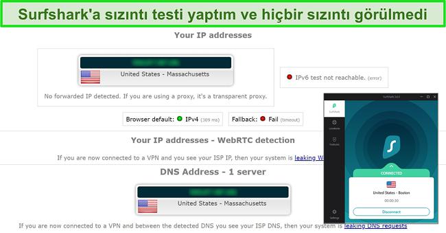 ABD sunucusuna bağlı Surfshark ile sızıntı testi sonuçlarının ekran görüntüsü