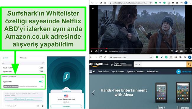 Netflix ABD ve Amazon İngiltere'nin ekran görüntüleri Surfshark'ın Whitelister özelliği nedeniyle aynı anda kullanılıyor