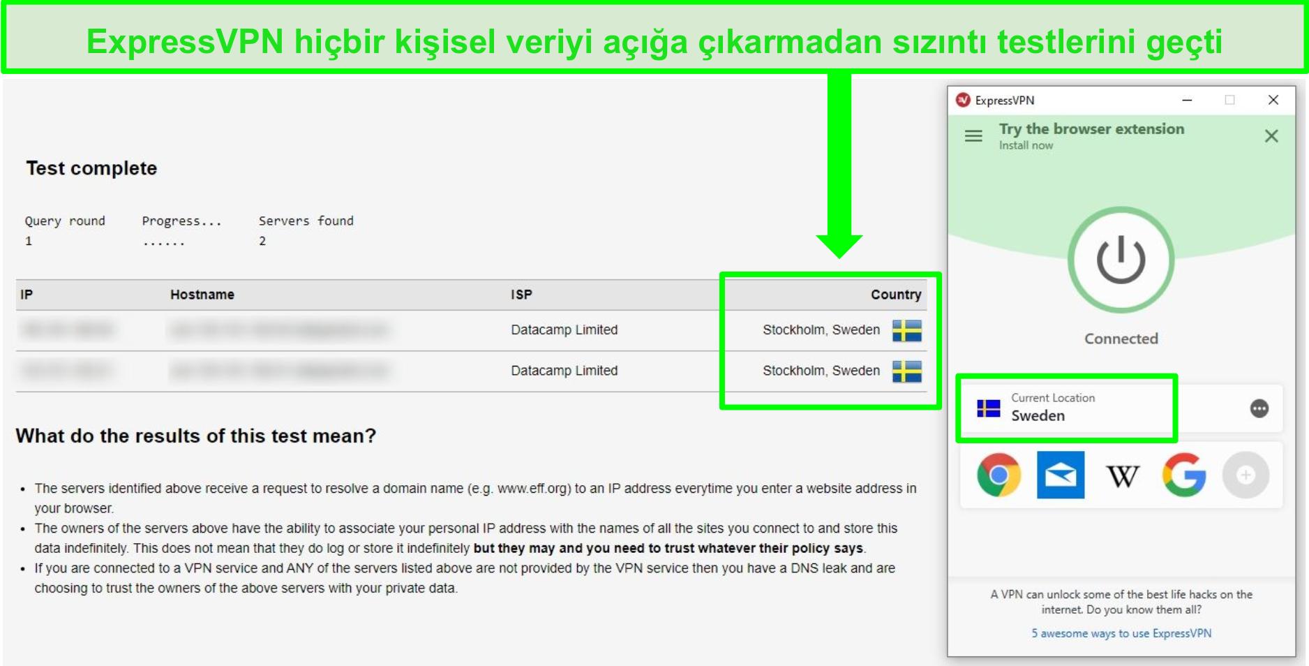 ExpressVPN'in İsveç sunucularına bağlıyken DNS sızıntı testini geçmesinin ekran görüntüsü