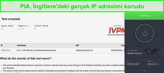 ABD sunucusuna bağlı PIA'nın ekran görüntüsü ve sızıntı olmadığını gösteren DNS sızıntı testi sonuçları