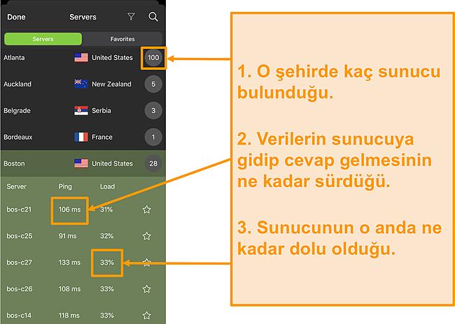 Sunucu numaraları, ping ve sunucu yükü vurgulanmış olarak IPVanish sunucu listesinin ekran görüntüsü