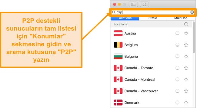 Mac uygulamasında Surfshark'ın P2P sunucularının ekran görüntüsü