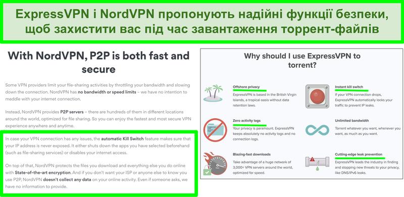 Знімок екрана веб-сайтів NordVPN та ExpressVPN, що показує, що вони підтримують торрент