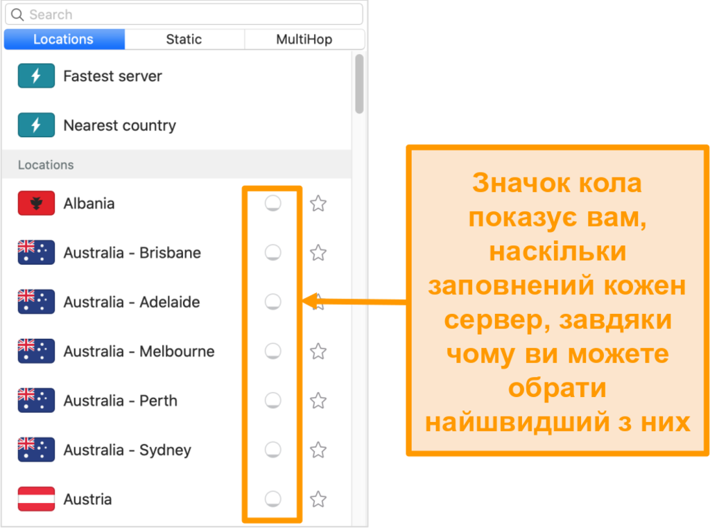 Знімок екрана списку серверів Surfshark, що відображає навантаження сервера