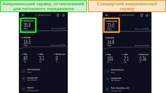 Знімок екрану тестів швидкості iOS Ookla