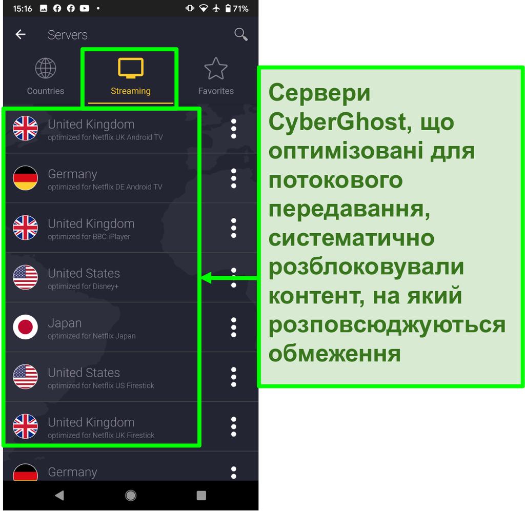 Знімок екрану оптимізованих потокових серверів CyberGhost