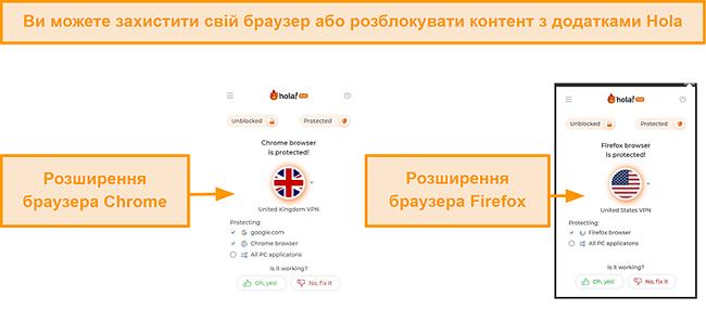 Знімок екрана розширень браузера Chrome та Firefox від Hola VPN