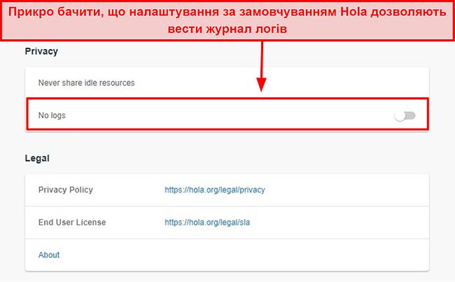 Знімок екрана Hola VPN не налаштовує журнали