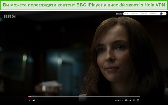 Знімок екрана Hola VPN, що розблоковує Killing Eve на BBC iPlayer