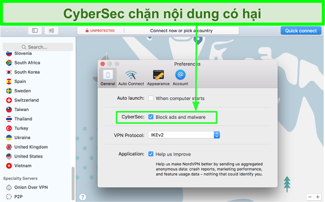 Ảnh chụp màn hình cho thấy tính năng chặn quảng cáo CyberSec và phần mềm độc hại của NordVPN được tham gia