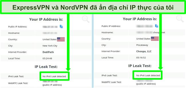Ảnh chụp màn hình hiển thị không phát hiện thấy rò rỉ IPv6 cho cả NordVPN và ExpressVPN