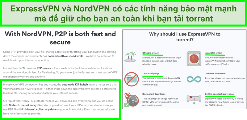 Ảnh chụp màn hình của các trang web NordVPN và ExpressVPN cho thấy rằng chúng hỗ trợ torrent