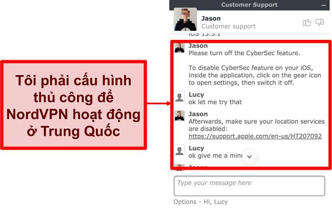 Ảnh chụp màn hình cuộc trò chuyện với NordVPN yêu cầu lời khuyên về cách làm cho ứng dụng hoạt động ở Trung Quốc