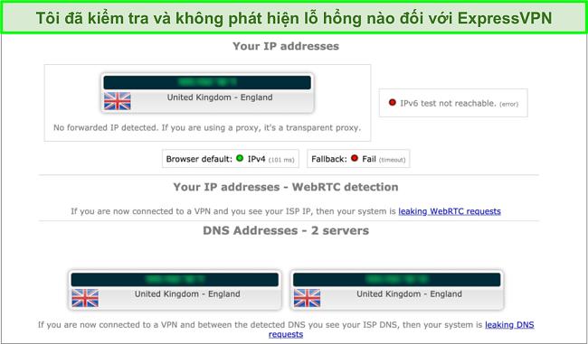 Ảnh chụp màn hình kết quả kiểm tra rò rỉ của ExpressVPN khi được kết nối với máy chủ ở Anh
