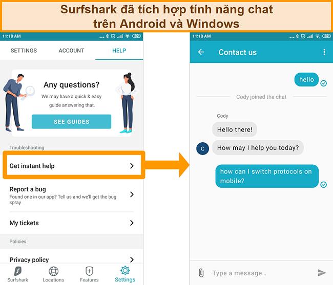 Ảnh chụp màn hình tính năng trò chuyện trực tiếp được tích hợp sẵn của Surfshark trên ứng dụng Android