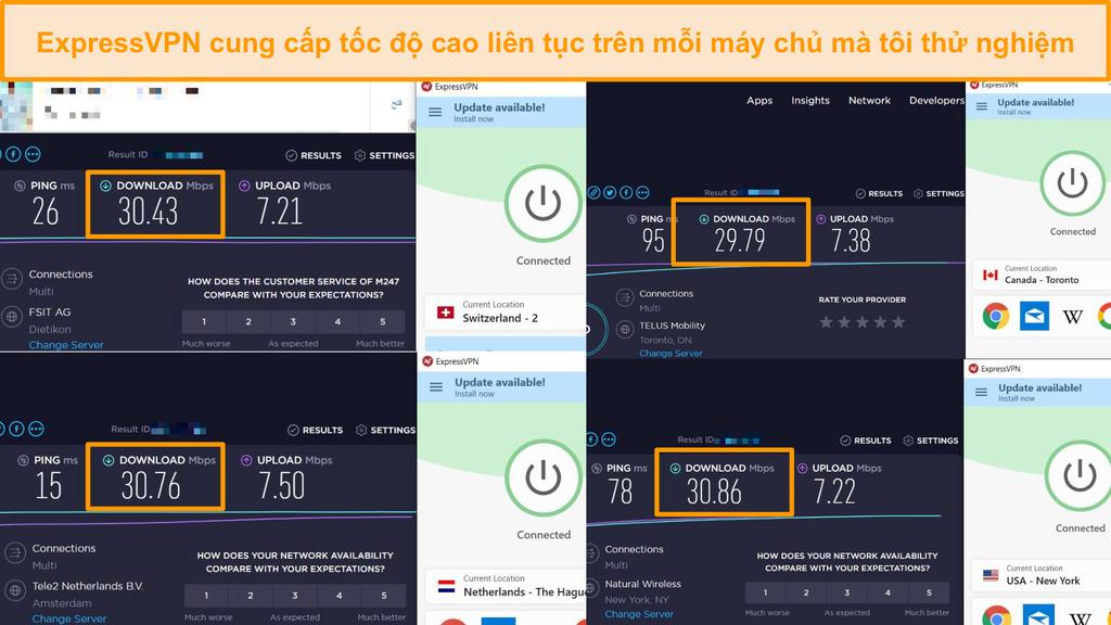 Ảnh chụp màn hình so sánh tốc độ giữa các máy chủ ExpressVPN khác nhau