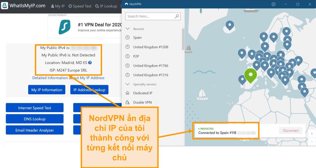 Ảnh chụp màn hình kiểm tra địa chỉ IP cho thấy NordVPN che địa chỉ IP thành công