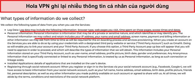 Ảnh chụp màn hình chính sách bảo mật của Hola VPN cho thấy nó ghi địa chỉ IP