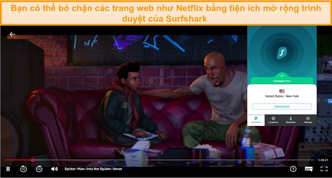Ảnh chụp màn hình tiện ích mở rộng trình duyệt của Surfshark được kết nối với Hoa Kỳ khi chơi Spider-Man: Into the Spider-Verse trên Netflix US