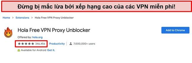 Ảnh chụp màn hình của Hola Free VPN Proxy Unblocker trên cửa hàng tiện ích mở rộng của Google Chrome