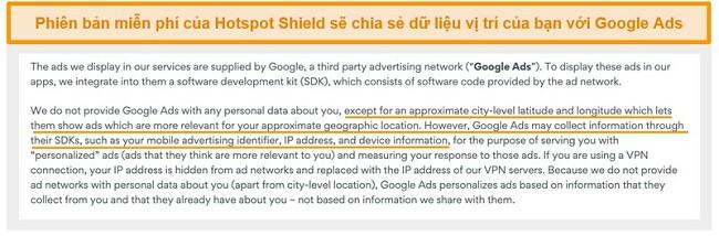 Ảnh chụp màn hình chính sách bảo mật của Hotspot Shield trên Google Ads