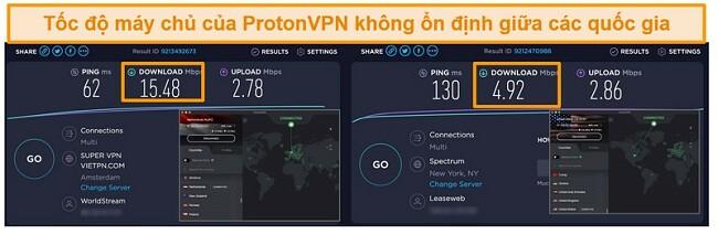 Ảnh chụp màn hình kết quả kiểm tra tốc độ cho Windscribe VPN và các máy chủ của nó ở Vương quốc Anh, Hà Lan, Hoa Kỳ và Hồng Kông