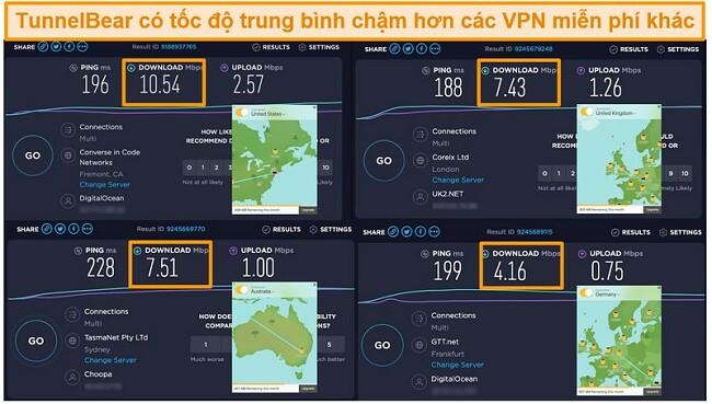 Ảnh chụp màn hình máy chủ của TunnelBear ở Đức, Anh, Mỹ và Úc và kết quả kiểm tra tốc độ