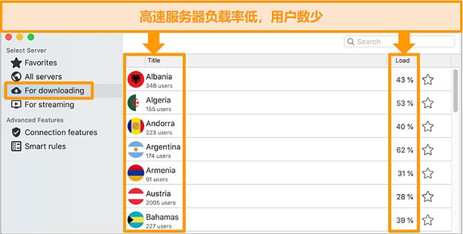 """CyberGhost应用程序和""""用于下载""""服务器列表的屏幕截图"""