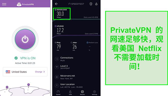 PrivateVPN 连接到美国服务器和 Ookla 速度测试的屏幕截图