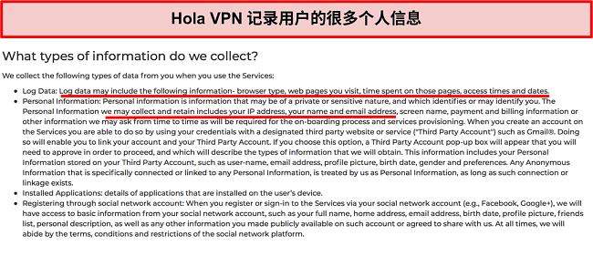 Hola VPN隐私策略的屏幕快照,显示它记录了IP地址