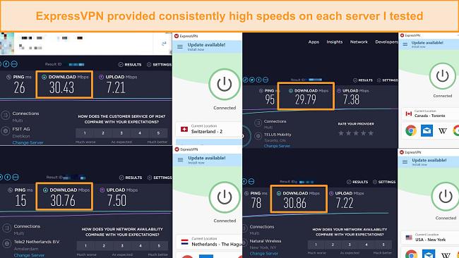 Screenshot of speed comparison between different ExpressVPN servers