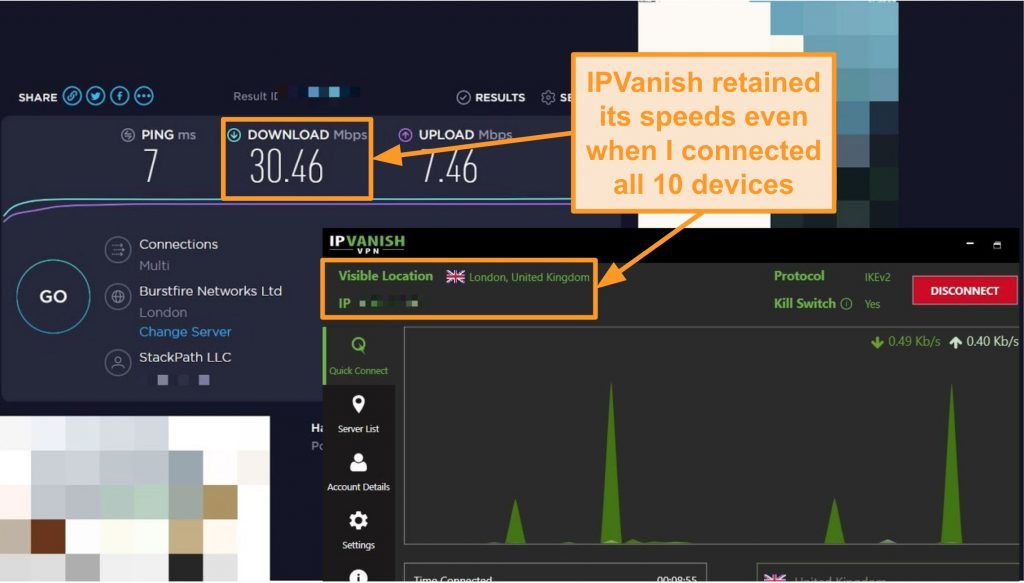 Screenshot of a speed test with IPVanish connection