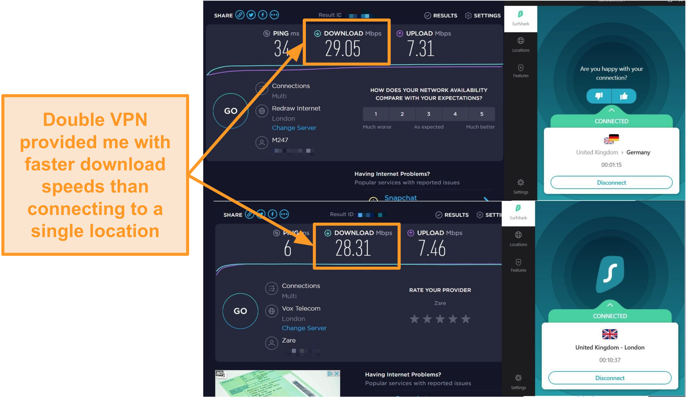 Screenshot of Surfshak speed comparison